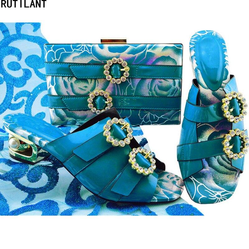 Passenden Party Set Entsprechen Italienischen Strass Verziert Und gold Zu Neue Schuhe blau Ankunft fuchsia Tasche weiß Mit Taschen Schwarzes Schuh teal gelb Damen 50FxZ78xn