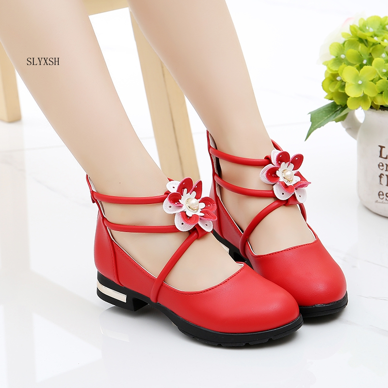 SLYXSH Flower Girls Shoes For Pary Wedding Princess Shoes Leather Shoes For Big Girl Dress Shoes Baby Kids Flats Sandals