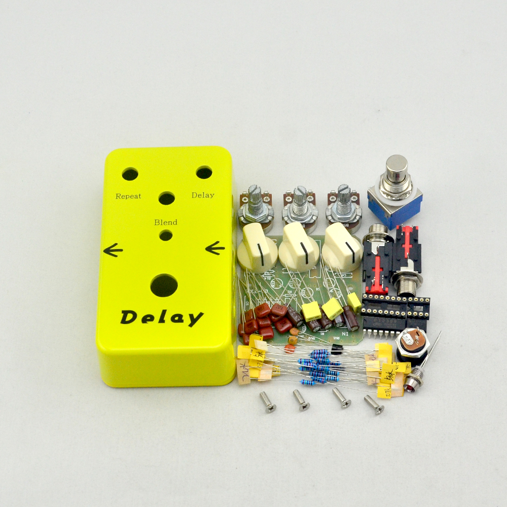 DIY Delay Guitar Effect Pedal & Yellow Delay Guitar pedals part kits Guitar Accessories + FREE SHIPPING aroma adr 3 dumbler amp simulator guitar effect pedal mini single pedals with true bypass aluminium alloy guitar accessories