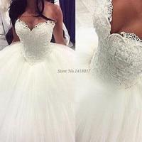 Vestido De Casamento 2017 Великолепная Свадебные и Бальные платья жемчуг плюс Размеры Свадебные платья Кружево невесты платье корсет сзади