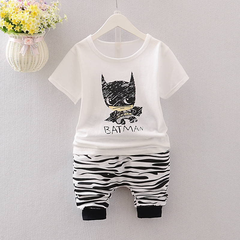 2018 new summer baby boy clothes body suit fashion cartoon tops shirt+ harem pants kids clothing sets costume for boys retail