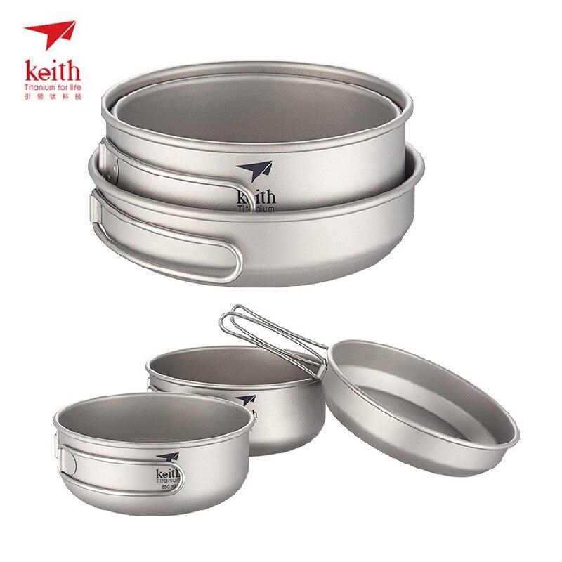 Keith 3pcs Titanium Cookware Cooking Utensils Portable Pot Sets Small Bowl Big Bowl Pan Folding Handle