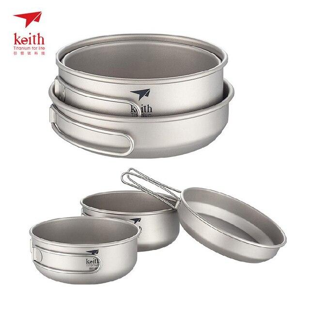 Keith 3pcs Titanium Cookware Cooking Utensils Portable Pot Sets Small Bowl & Big Bowl & Pan Folding Handle Cookware Ti6053