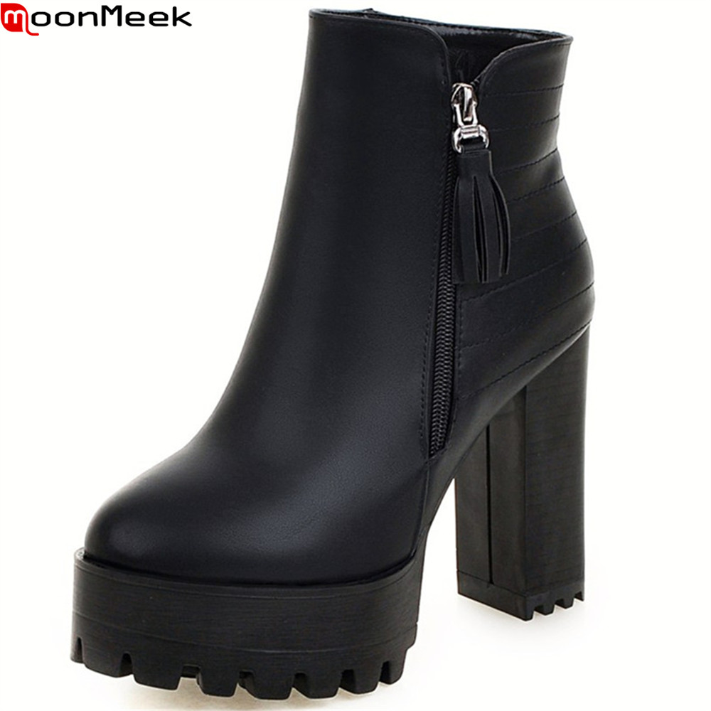MoonMeek winter new arrive women boots black red white gray high quality pu ladies boots platform zipper square heel ankle boots new women shoes square high heel platform boots woman tassel women boots black yellow beige gray ankle boots