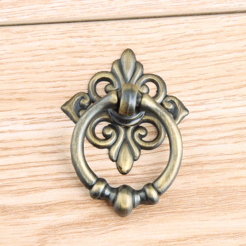 Retro style drop rings furniture small knobs antique brass drawer shoe cabinet knob pull vintage bronze dresser door handle vintage style golden silver black antique brass bronze antique copper lionhead drawer cabinet knobs pulls handle retro furniture