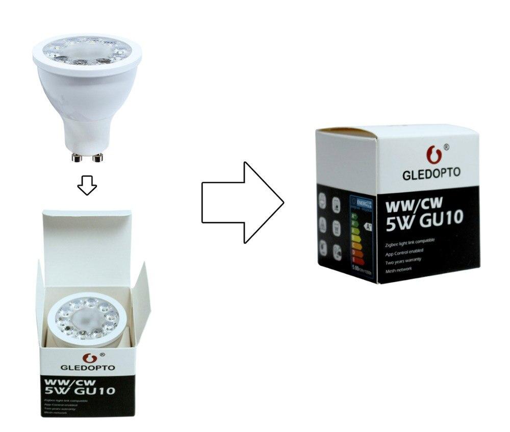 Купить с кэшбэком ZIGBEE GU10 LED Spotlight CCT WW CW 5W ZLL Smart APP Control Bulb Light Dual White AC 110V 220V GU10 LED Spot Light Lamp Alexa