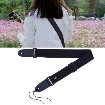 цена на Pure Color Soft Cotton Linen Guitar Shoulder Strap PU Leather Ends Strap Adjustable Guitar Strap