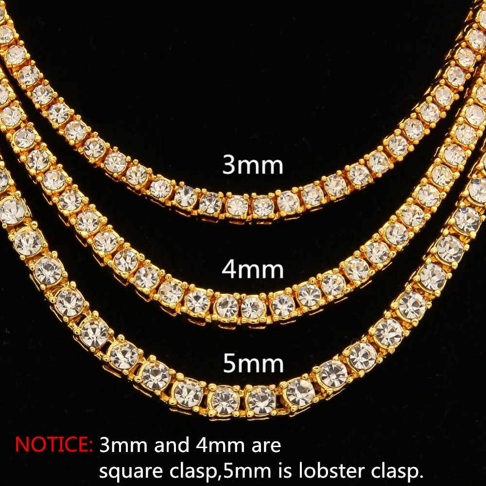 Hiphop Choker Bling Iced Out naszyjnik ze strasu dla mężczyzn 3mm 4mm 5mm szerokość srebrny/czarny/różowe złoto/złoty 1 rząd łańcuchy tenisowe