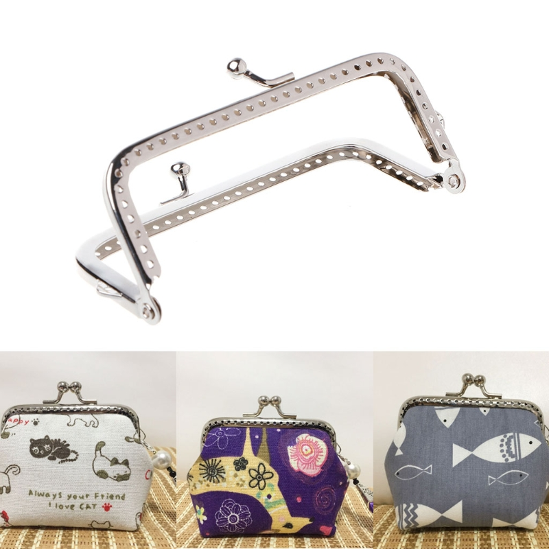 1PC Metal Sewing Holes Handbag Clutch Coin Purse Bag Frame Kiss Clasp Arch 8.5cm