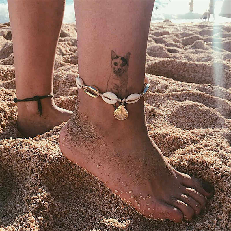 โบฮีเมียเชลล์ Anklets สำหรับผู้หญิงห่วงโซ่เครื่องประดับชายหาดสร้อยข้อมือขาหญิงข้อเท้า 2019 แฟชั่นเครื่องประดับ