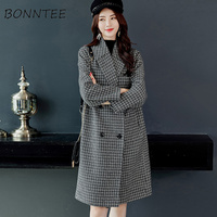 Blends 2018 Coat for Women Plaid Single Breasted Pockets Overcoats Womens Korean Style All match Ladies Elegant Trendy Loose