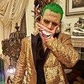 Золото мужчины костюмы певица танцор куртка blazer Мужской вечернее платье мужской одежды блестка костюм партия показать мода пром жених