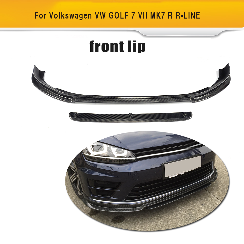 цена на Carbon Fiber Front Bumper Lip Spoiler Bumper Protector for Volkswagen VW Golf VII 7 R R LINE Hatchback 2014-2016 Non Standard