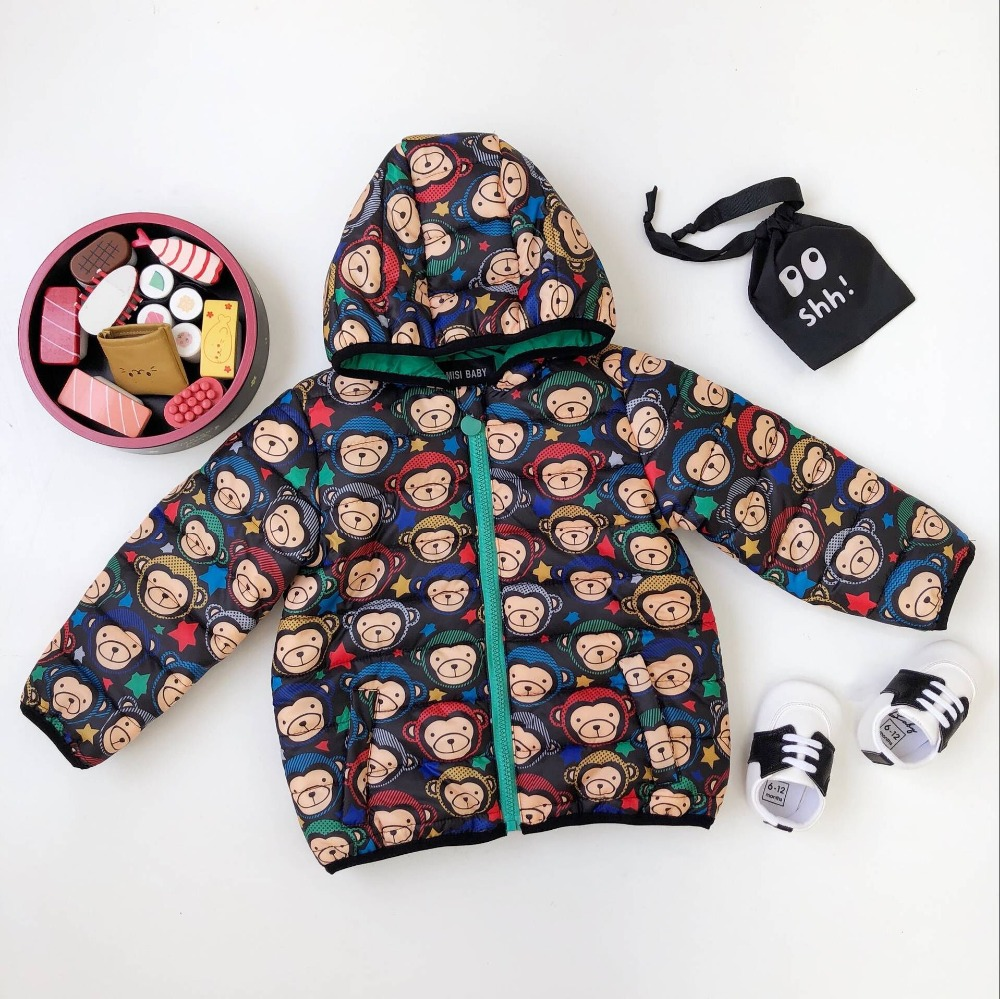 цена Boys coats winter Monkey pattern hooded blazer jacket cotton padded thicken warm boys girls outwear