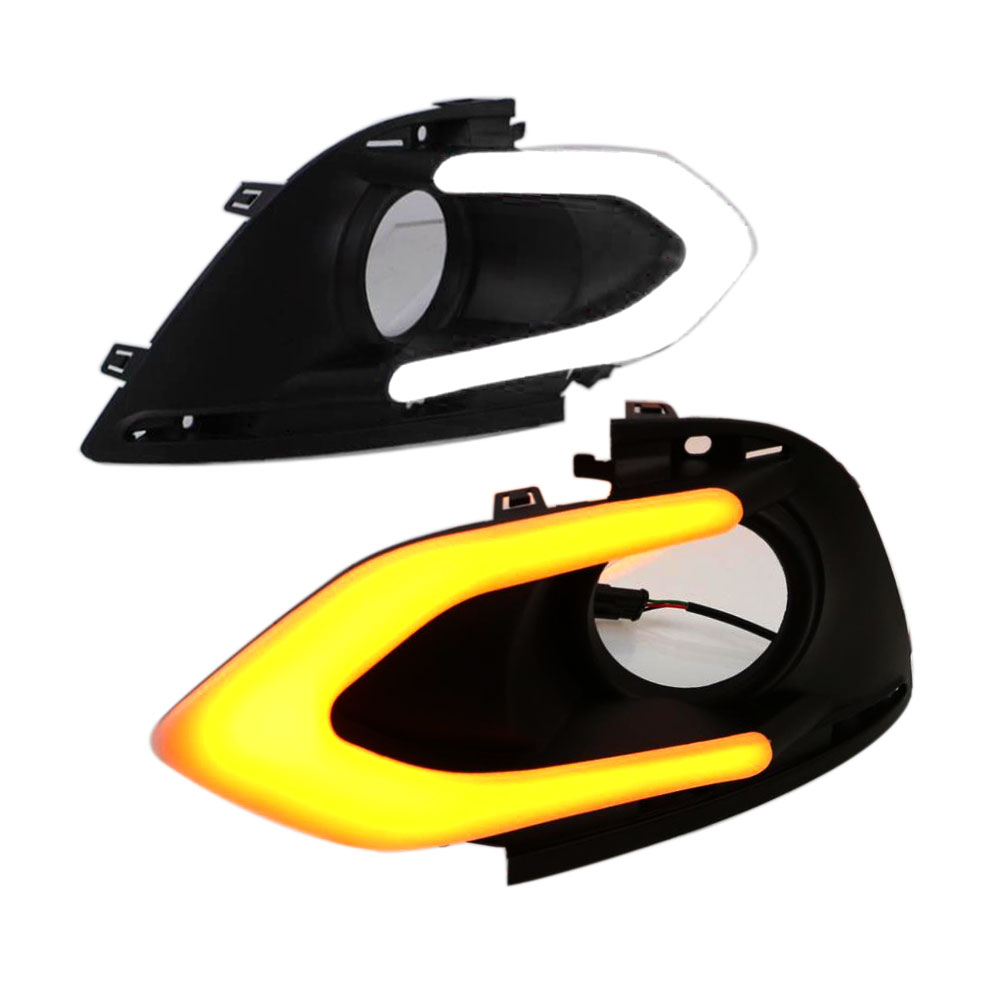 Daytime Running Light DRL for Mitsubishi Mirage 2016 2017 Left Right side White DRL and Yellow Turning Signal Light воздухозаборник mmd355556 e1t42171 mitsubishi mirage mitsubishi