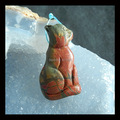 Carved Multi-color Picasso Jasper Cat Pendant Bead,41x23x9mm,12.99g