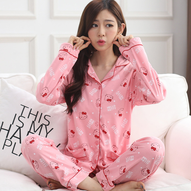 a870b4d16246 Women cotton turn down collars pajamas set