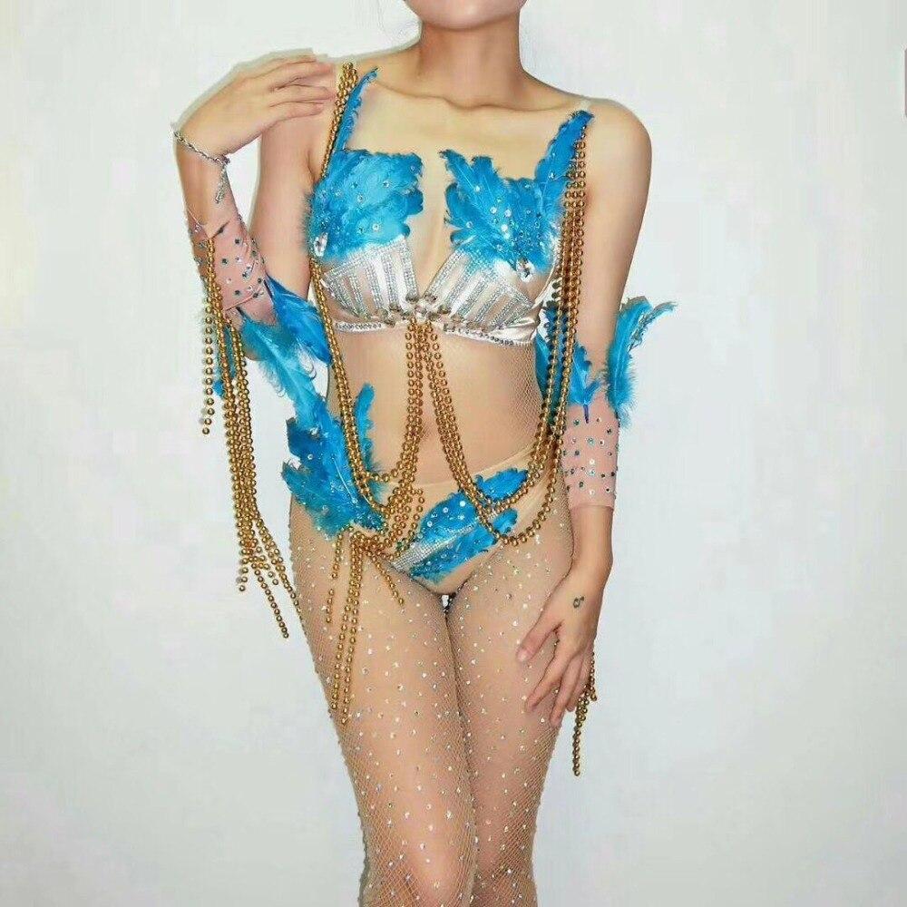 Sexy Blue Rhinestones Feather Bikini Bodysuit Gogo Dance Nightclub Performance Outfit Dj Jazz Costume Stage Clothing DJ216