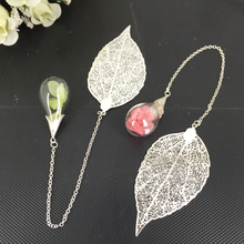 Handmade Crystal Bookmark Original Design Leaves & crystal ball with flower Fashion Stationery Accessories for Students Gifts