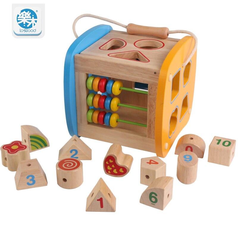 Logwood bébé blocs de construction en bois boîte de forme multifonctionnelle éducation précoce Montessori jouets éducatifs pour enfants cadeaux