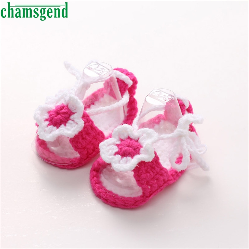 CHAMSGEND Best Seller Crib Crochet Casual Baby Girls Handmade Knit Sock Flower Infant Shoes S35