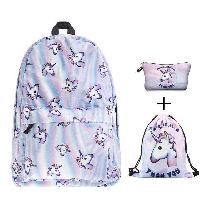 holo unicorn 3D printing backpack women bag fashion drawstring bags school  bags for teenage girls school backpacks