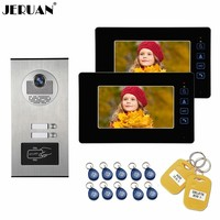 JERUAN Wired 7 Inch LCD Video Door Phone Doorbell Monitor Entry Intercom System Kit 2000 user Access HD RFID Camera 2 Apartments