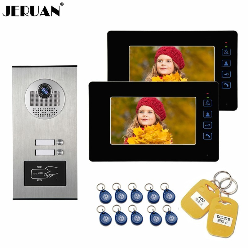 JERUAN Wired 7 Inch LCD Video Door Phone Doorbell Monitor Entry Intercom System Kit 2000 user Access HD RFID Camera 2 ApartmentsJERUAN Wired 7 Inch LCD Video Door Phone Doorbell Monitor Entry Intercom System Kit 2000 user Access HD RFID Camera 2 Apartments