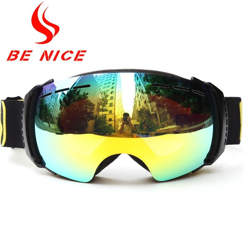 Prix pour Benice Marque Miroir À Double Lentille Ski Lunettes Unisexe Ski Snowboard UV-400 Anti-Brouillard Ski Lunettes Snow-3500 Avec Sac Gratuit