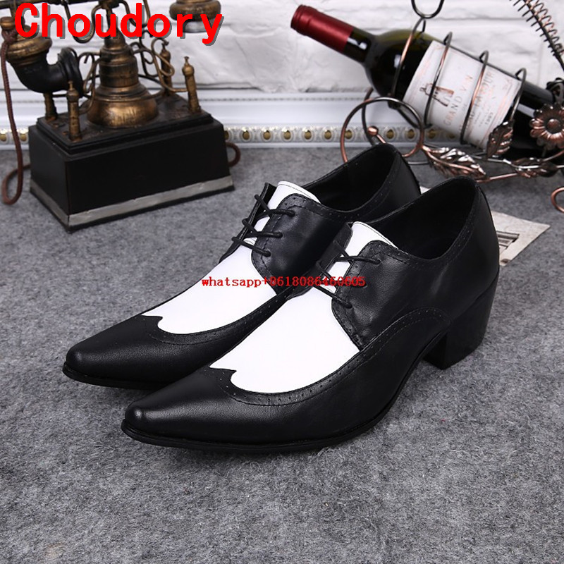 Choudory Fashion Korean Style Black White Oxford Shoes For Man Height Increasing Mens Smoking Slippers Dress Wedding ShoesChoudory Fashion Korean Style Black White Oxford Shoes For Man Height Increasing Mens Smoking Slippers Dress Wedding Shoes