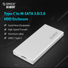 ORICO Type-C Gen1 to mSATA 3.0  HDD Enclosure Box Case USB3.1 for 1.8 inch SSD [Support UASP&2TB]-Silver