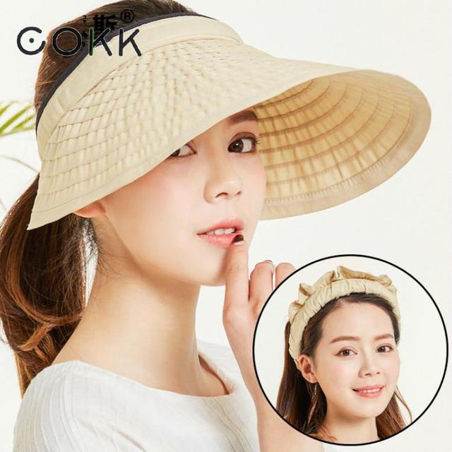 fe6f63cb9cb COKK Summer Hats For Women Big Wide Brim Empty Top Lady Hat Sunscreen Sun  Visor Sun Hat Beach Cap Outdoor Cycling Portable New