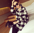 Black And White Plaid Windbreaker 2015 Autumn Thick Loose Cotton Blends Long Coat Female Trench
