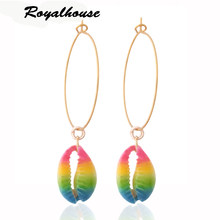 Royalhouse Drop shell Earring brand Earrings Merk oorbellen Dangle Large Long Brinco Colored shell Ear Accessories Oorbellen(China)