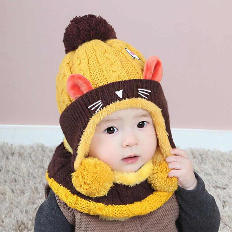 Doitbest/бархатные шерстяные шапочки для мальчиков от 1 до 4 лет с изображением котенка из мультфильма, вязаные меховые шапки, зимний комплект из 2 предметов, шарф для девочки, шапка