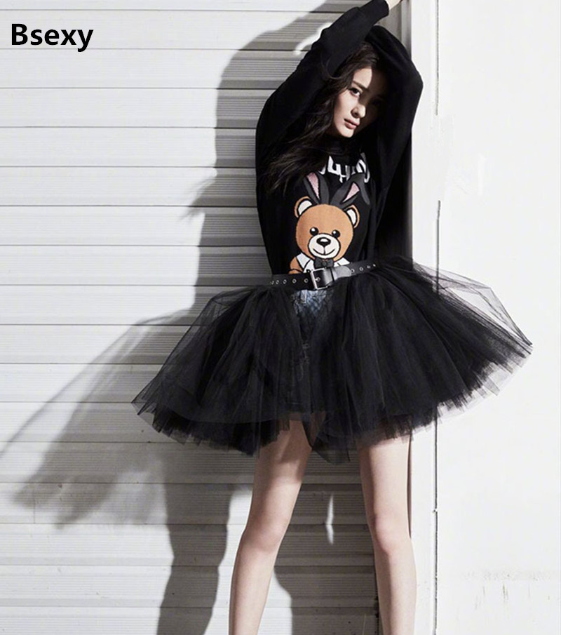 harajuku Black Tulle Skirt 2018 Lolita Sweet Pleated TUTU Skirts Womens Layers Petticoat Ball Gown Mesh Short Voile Mini Skirts