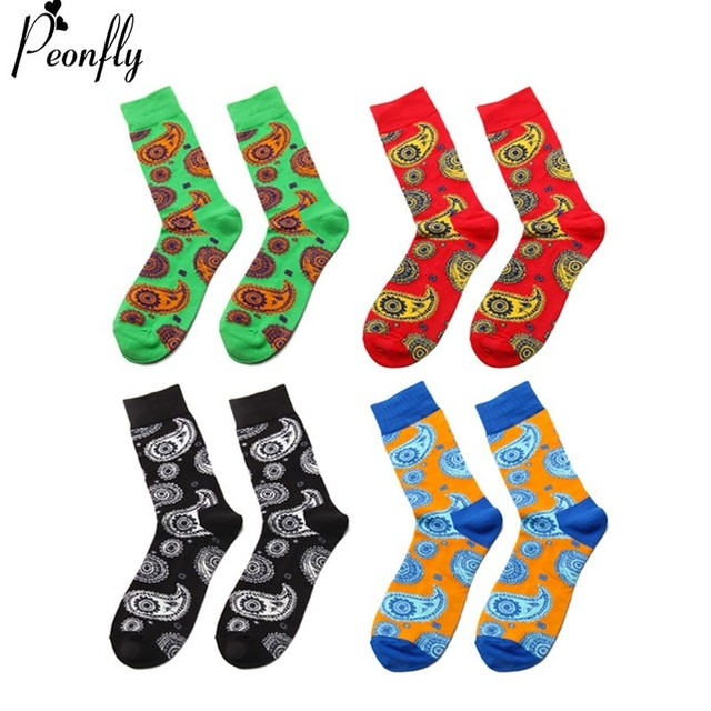 PEONFLY New Winter Men Novelty Colorful Cartoon Cashew FLOWER Pattern Cotton Socks High Quality Fashion Hip Hop Skateboard Socks