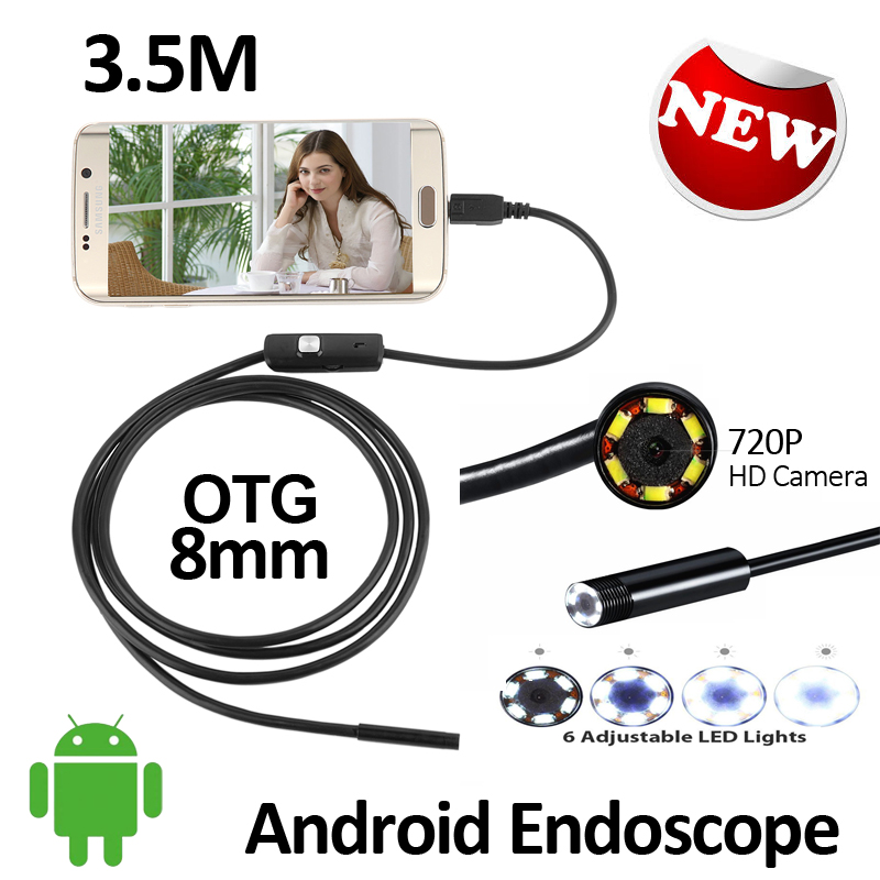 2MP HD720P Android USB Endoscope Camera 3.5M 8mm Flexible Snake Inspection IP67 Waterproof Andorid OTG USB Borescope Camera 6LED gl9008 8mm endoscope ip67 waterproof with colorful lcd monitor camera head inspection av handheld cmos
