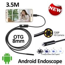 2MP HD720P Android USB Endoscope Camera 3.5M 8mm Flexible Snake Inspection IP67 Waterproof Andorid OTG USB Borescope Camera 6LED