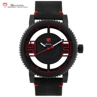 Megamouth Shark Sport Watch Black Red 3D Special Transparent Designer Top Brand Luxury Leather Band Quartz