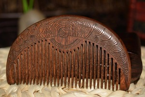 ZGTGLAD Pocket Wooden Comb Natural Gold Sandalwood Super Narrow Tooth Wood Combs Double side engraved small Comb hair(China)