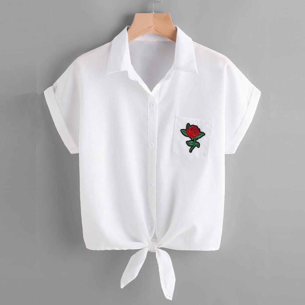 White Blouse Cropped Rose Appliques New Women Blouse Short Sleeve With Pocket Korean Fashion Blusas De Manga Curta#9051 blouse
