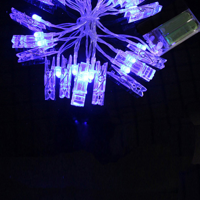 10 LED Clamp Hollow String Light Outdoor Christmas Party Pictures Decor Lamp Battery Organizer Pil Kutusu