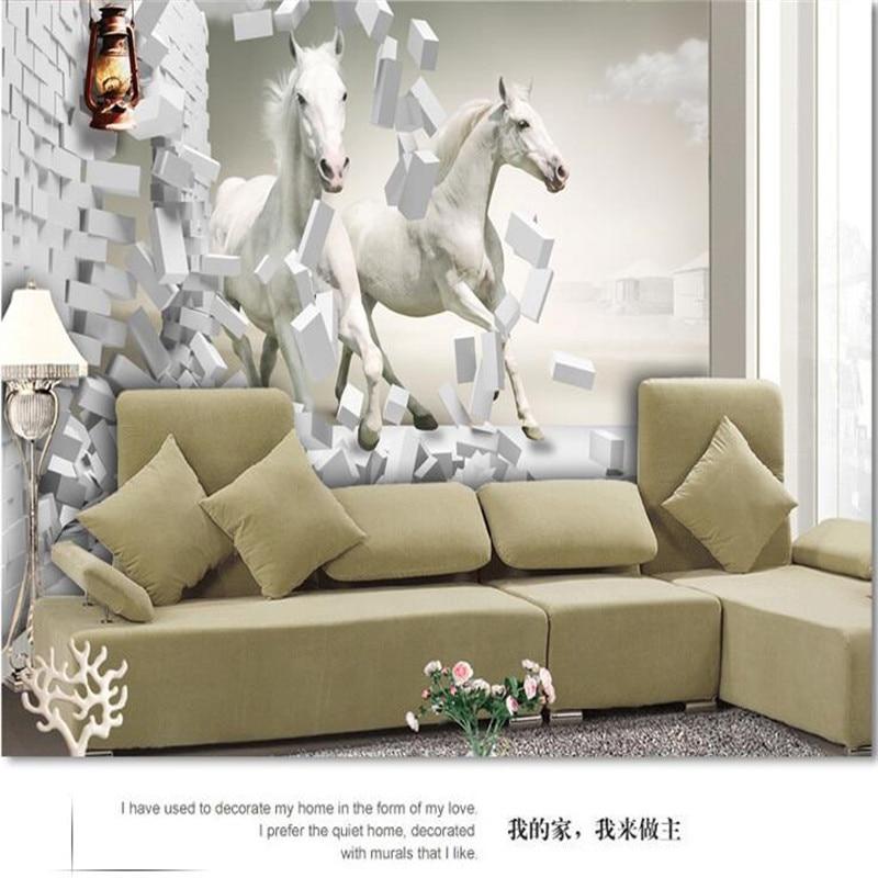 Wonderful Aliexpress.com : Buy Custom Made Photo Wallpaper European TV Living Room  Bedroom Creative Perspective Diagram White Horse Mural Wallpaper Wall Mural  From ...