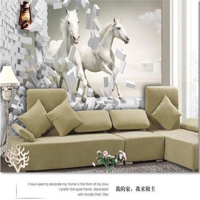 Custom Made Photo Wallpaper European TV Living Room Bedroom Creative  Perspective Diagram White Horse Mural Part 92