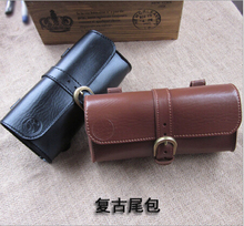 Vintage leather bike tail tail bag saddle bag package bicycle Tools bag