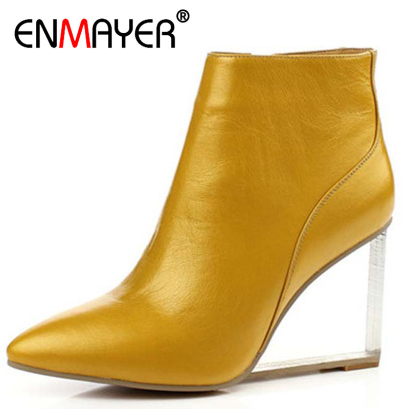 ENMAYER Wedges High Heels Ankle Boots Design Pointed Toe High Heels Pring Autumn Fashion Sexy Black Shoes Woman Genuine Leather new women pumps transparent wedges high heels ankle pointed toe high heels pring autumn sexy shoes woman platform pumps