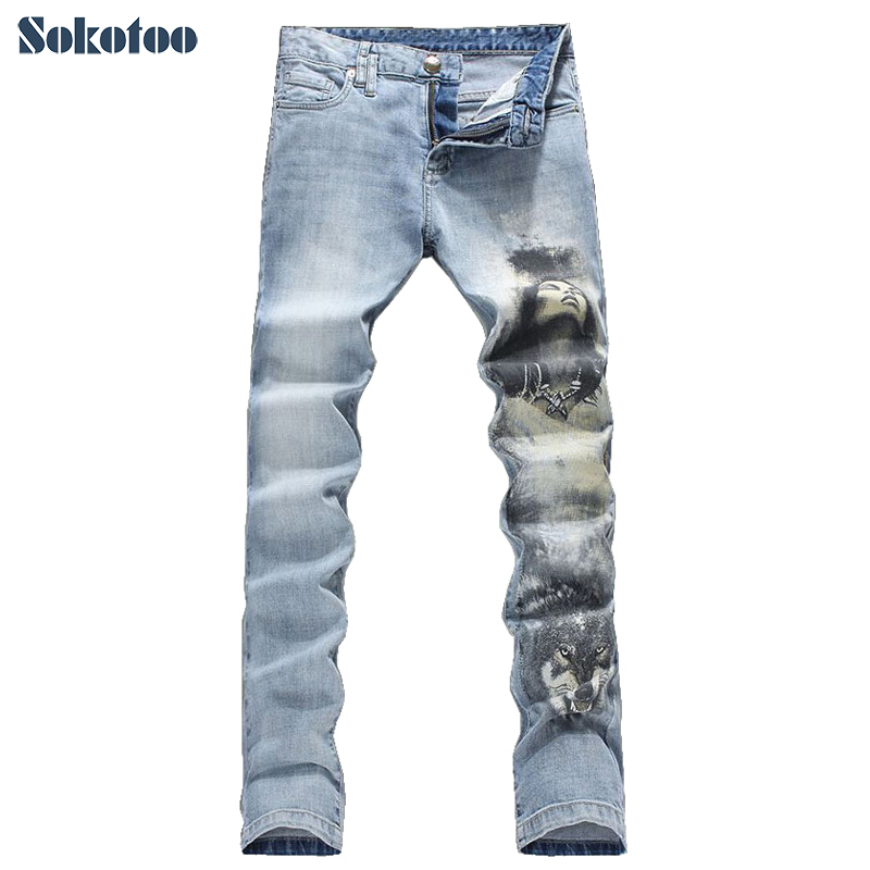 ФОТО Sokotoo Men's fashion wolf woman print jeans Male slim fit light blue elastic denim pants Long trousers Free shipping