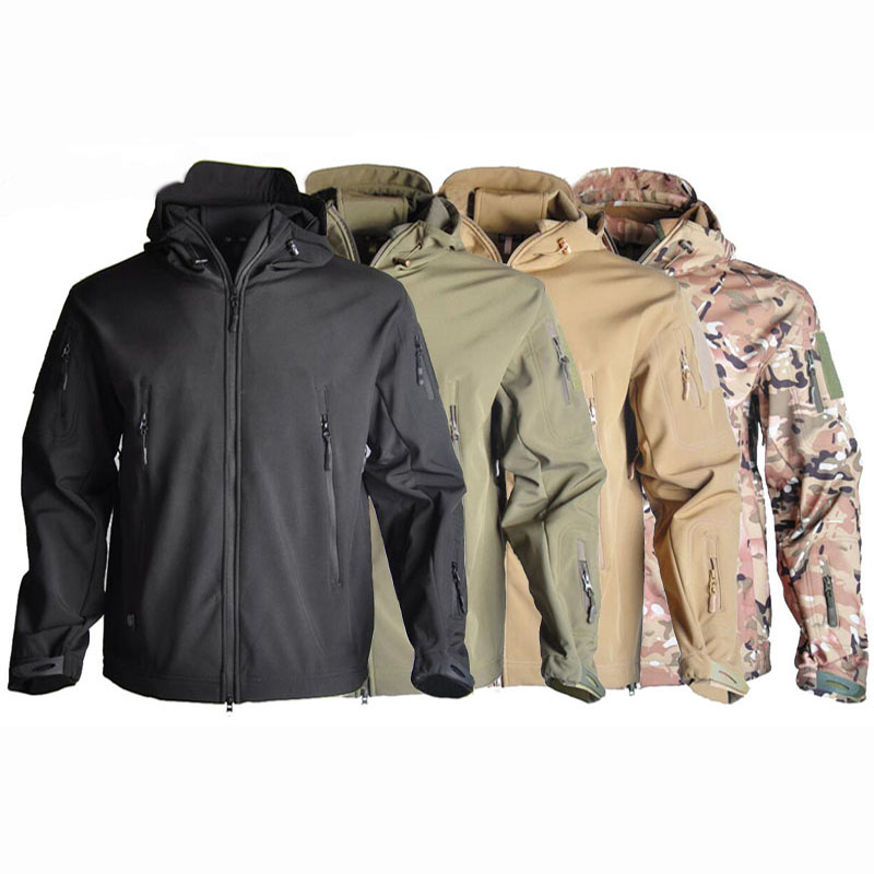 Outdoor Tactical Jacket Softshell Hunting Clothes Winter Jacket Men Hooded Windproof Coats For Camping Hiking Sport 4 Colors