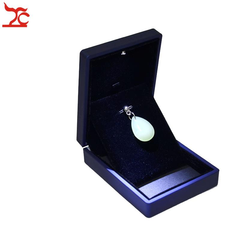Navy Blue Rubber High LED Light Pendant Box for Jewelry Packaging Boxes Gift Spotlight Earring Box Necklace Storage Container